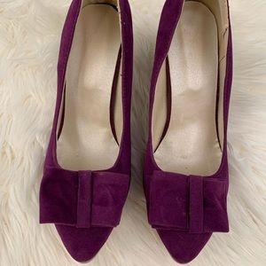 Shoes - Artfaerie faux suede purple heels sz 10.5